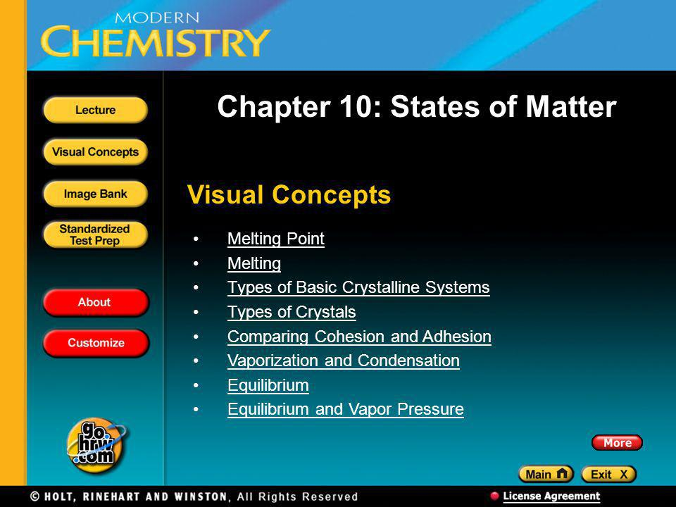 Visual Concepts Chapter 10: States of Matter Melting Point Melting Types of Basic Crystalline Systems Types of Crystals Comparing Cohesion and Adhesion Vaporization and Condensation Equilibrium Equilibrium and Vapor Pressure