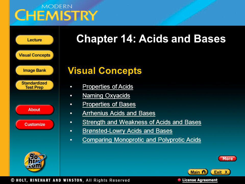 Visual Concepts Chapter 14: Acids and Bases Properties of Acids Naming Oxyacids Properties of Bases Arrhenius Acids and Bases Strength and Weakness of Acids and Bases Brønsted-Lowry Acids and Bases Comparing Monoprotic and Polyprotic Acids