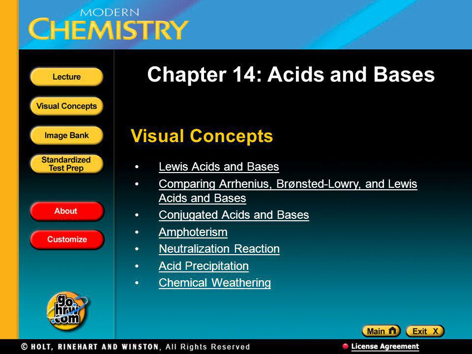 Visual Concepts Chapter 14: Acids and Bases Lewis Acids and Bases Comparing Arrhenius, Brønsted-Lowry, and Lewis Acids and BasesComparing Arrhenius, Brønsted-Lowry, and Lewis Acids and Bases Conjugated Acids and Bases Amphoterism Neutralization Reaction Acid Precipitation Chemical Weathering