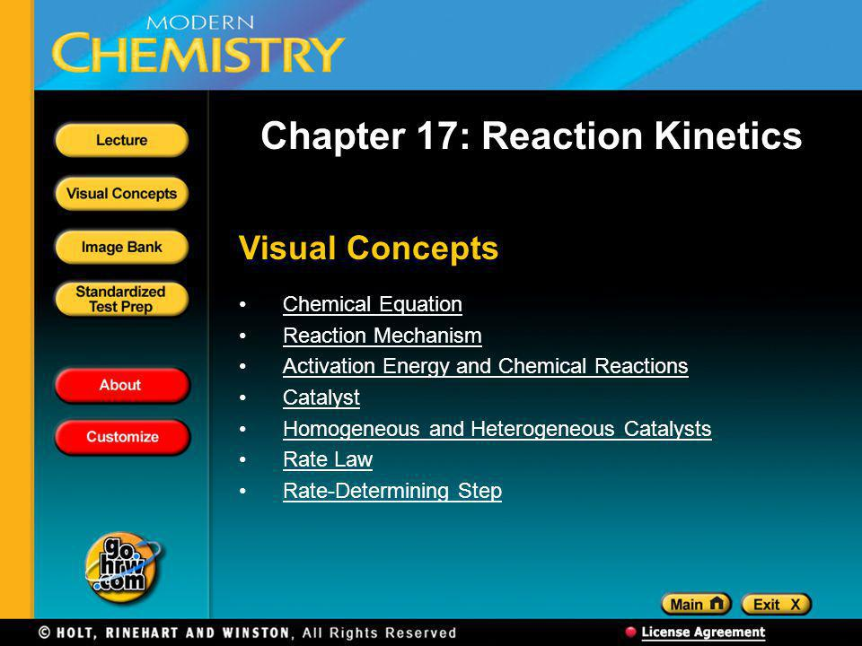 Visual Concepts Chapter 17: Reaction Kinetics Chemical Equation Reaction Mechanism Activation Energy and Chemical Reactions Catalyst Homogeneous and Heterogeneous Catalysts Rate Law Rate-Determining Step