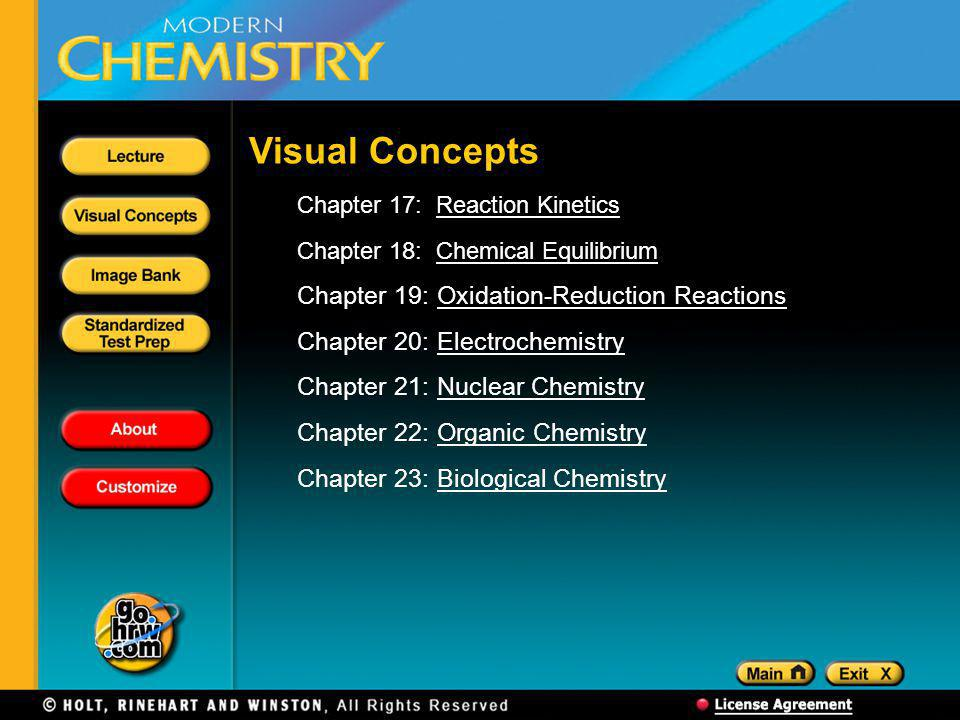 Visual Concepts Chapter 17: Reaction KineticsReaction Kinetics Chapter 18: Chemical EquilibriumChemical Equilibrium Chapter 19: Oxidation-Reduction ReactionsOxidation-Reduction Reactions Chapter 20: ElectrochemistryElectrochemistry Chapter 21: Nuclear ChemistryNuclear Chemistry Chapter 22: Organic ChemistryOrganic Chemistry Chapter 23: Biological ChemistryBiological Chemistry