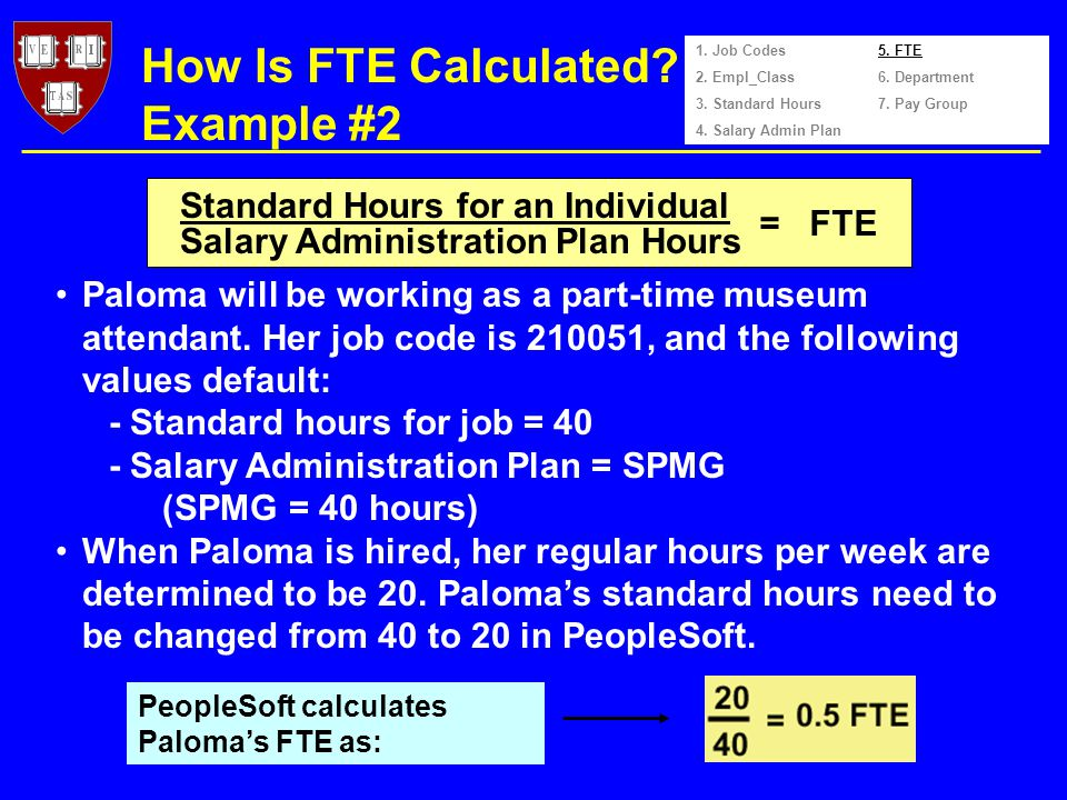 How Is FTE Calculated. Example #2 Paloma will be working as a part-time museum attendant.