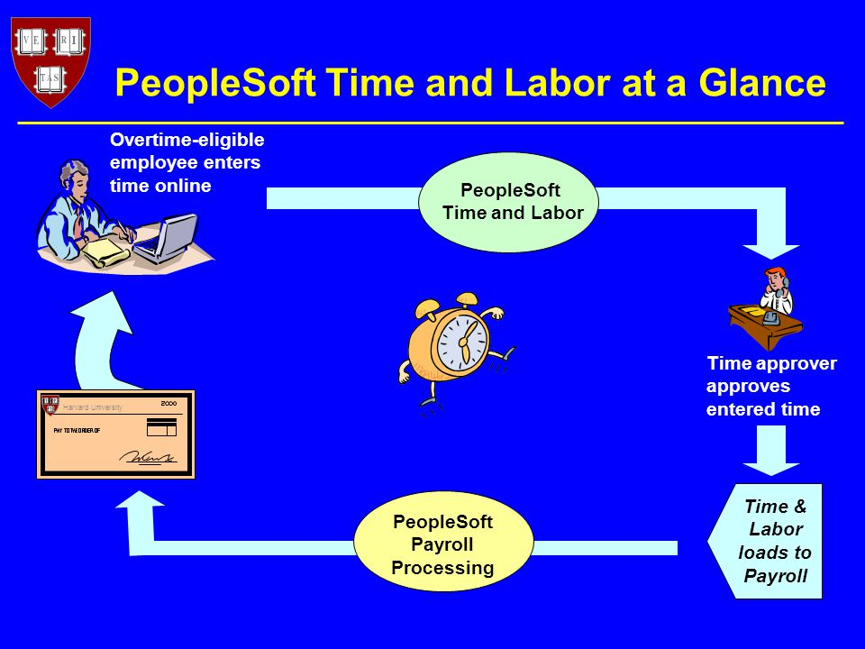 Overtime-eligible employee enters time online Harvard University Time approver approves entered time PeopleSoft Time and Labor Time & Labor loads to Payroll PeopleSoft Time and Labor at a Glance PeopleSoft Payroll Processing