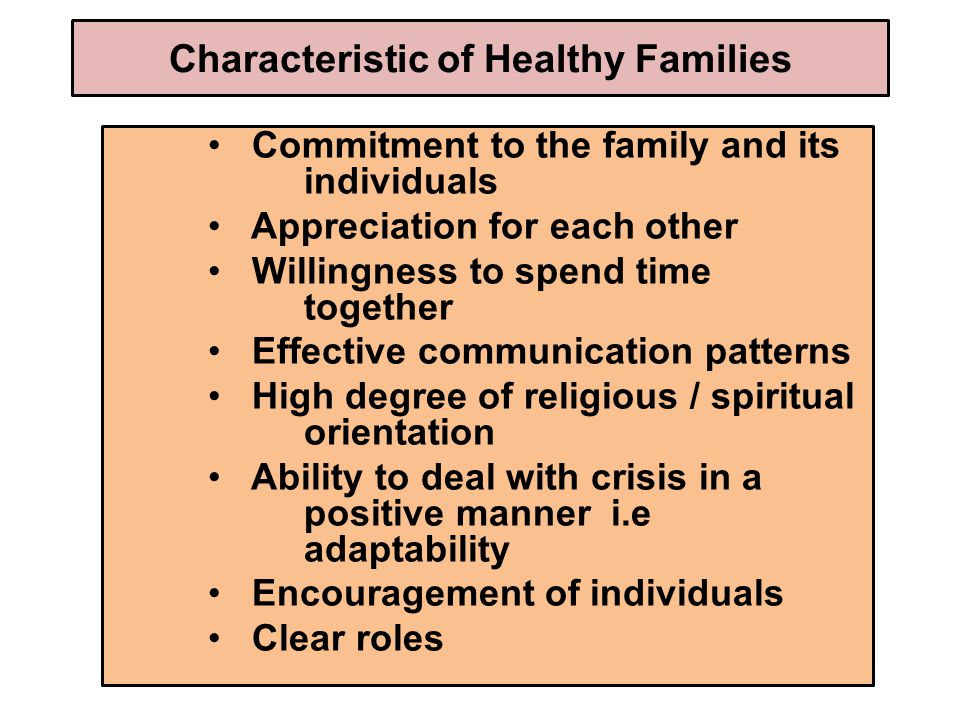 Characteristic of Healthy Families Commitment to the family and its individuals Appreciation for each other Willingness to spend time together Effective communication patterns High degree of religious / spiritual orientation Ability to deal with crisis in a positive manner i.e adaptability Encouragement of individuals Clear roles