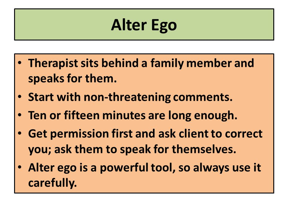 Alter Ego Therapist sits behind a family member and speaks for them.
