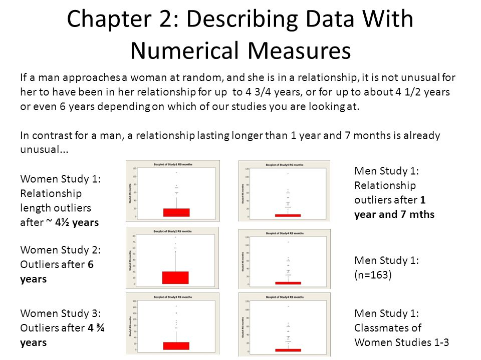 Chapter 2: Describing Data With Numerical Measures If a man approaches a woman at random, and she is in a relationship, it is not unusual for her to have been in her relationship for up to 4 3/4 years, or for up to about 4 1/2 years or even 6 years depending on which of our studies you are looking at.