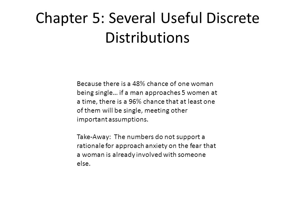Chapter 5: Several Useful Discrete Distributions Because there is a 48% chance of one woman being single… if a man approaches 5 women at a time, there is a 96% chance that at least one of them will be single, meeting other important assumptions.