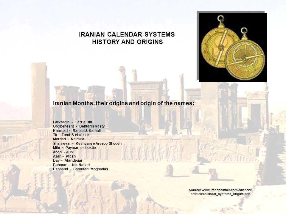 Iranian Months, their origins and origin of the names: Farvardin ~ Farr e Din Ordibehesht ~ Behtarin Rasty Khordad ~ Rasaei & Kamali Tir ~ Tond & chab