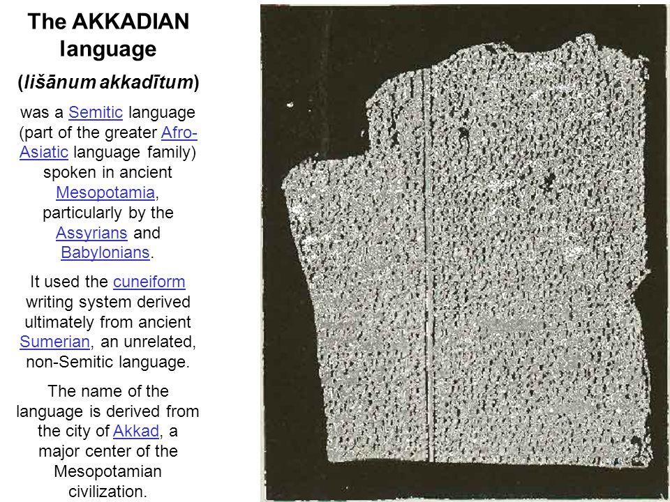 The AKKADIAN language (lišānum akkadītum) was a Semitic language (part of the greater Afro- Asiatic language family) spoken in ancient Mesopotamia, pa