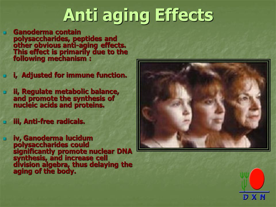 Anti aging Effects Ganoderma contain polysaccharides, peptides and other obvious anti-aging effects.