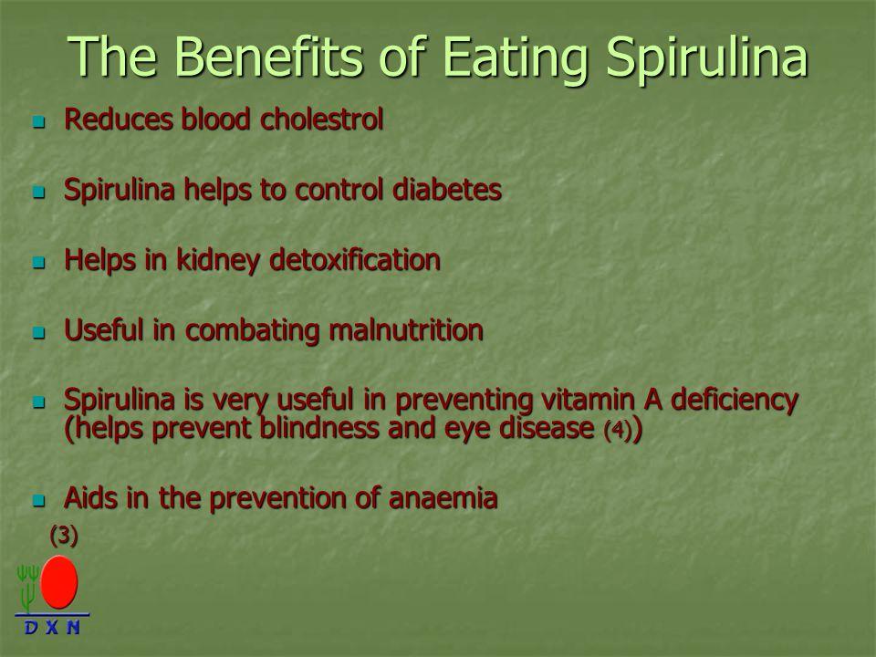 The Benefits of Eating Spirulina Reduces blood cholestrol Reduces blood cholestrol Spirulina helps to control diabetes Spirulina helps to control diab