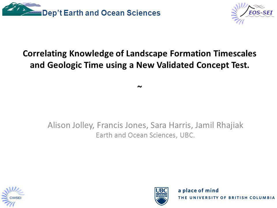1 Correlating Knowledge of Landscape Formation Timescales and Geologic Time using a New Validated Concept Test.