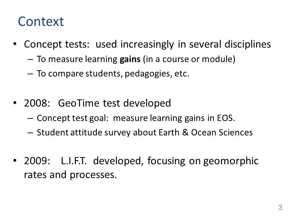 4 Geotime concept test development Experts: Interviewed to identify topics of interest.