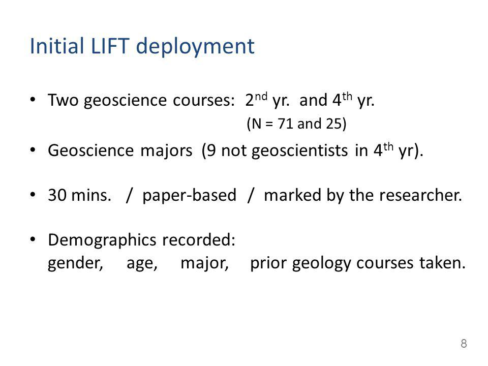 8 Initial LIFT deployment Two geoscience courses: 2 nd yr.