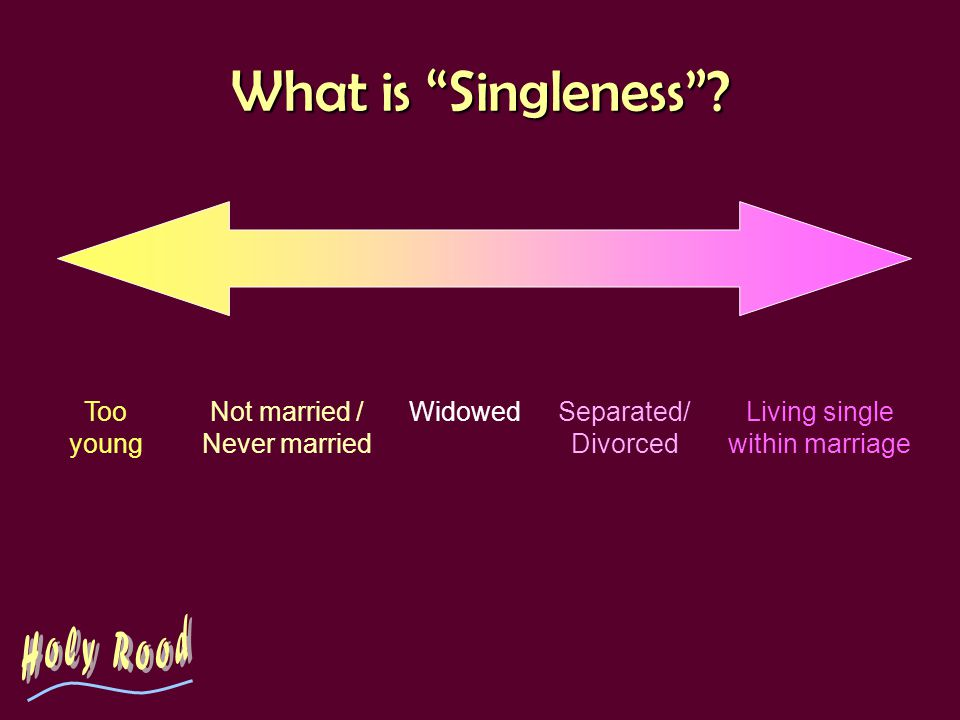 What is Singleness? Too young Not married / Never married WidowedSeparated/ Divorced Living single within marriage