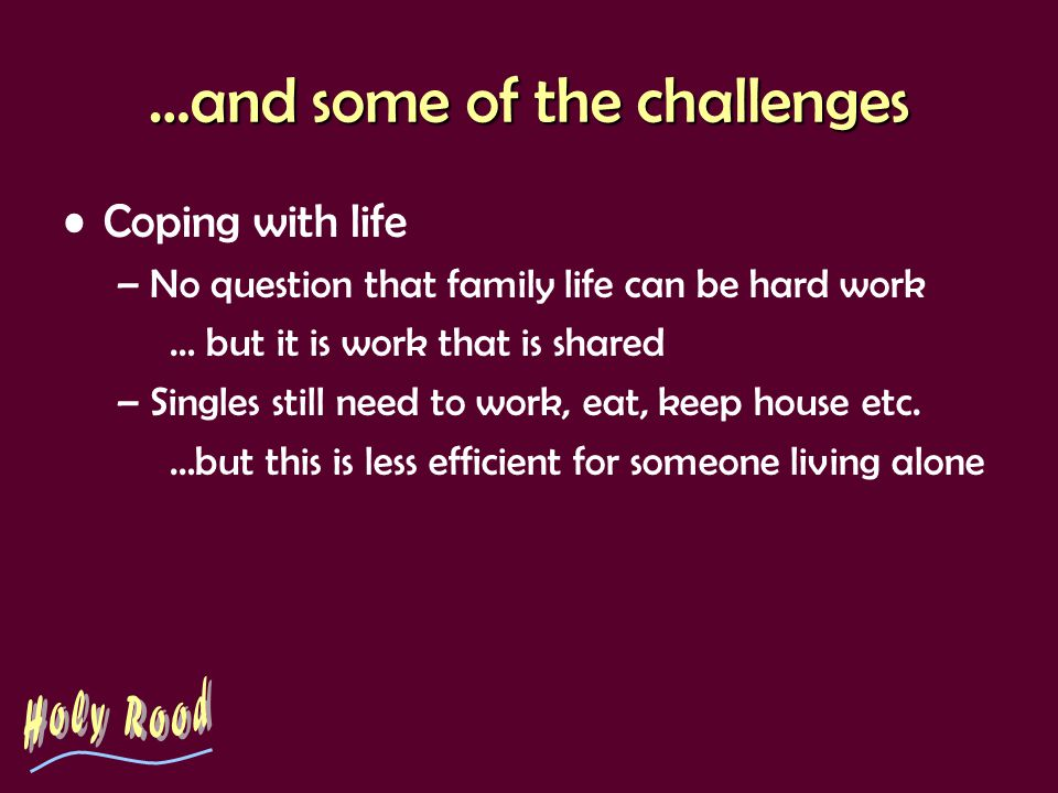 …and some of the challenges Coping with life –No question that family life can be hard work … but it is work that is shared –Singles still need to wor