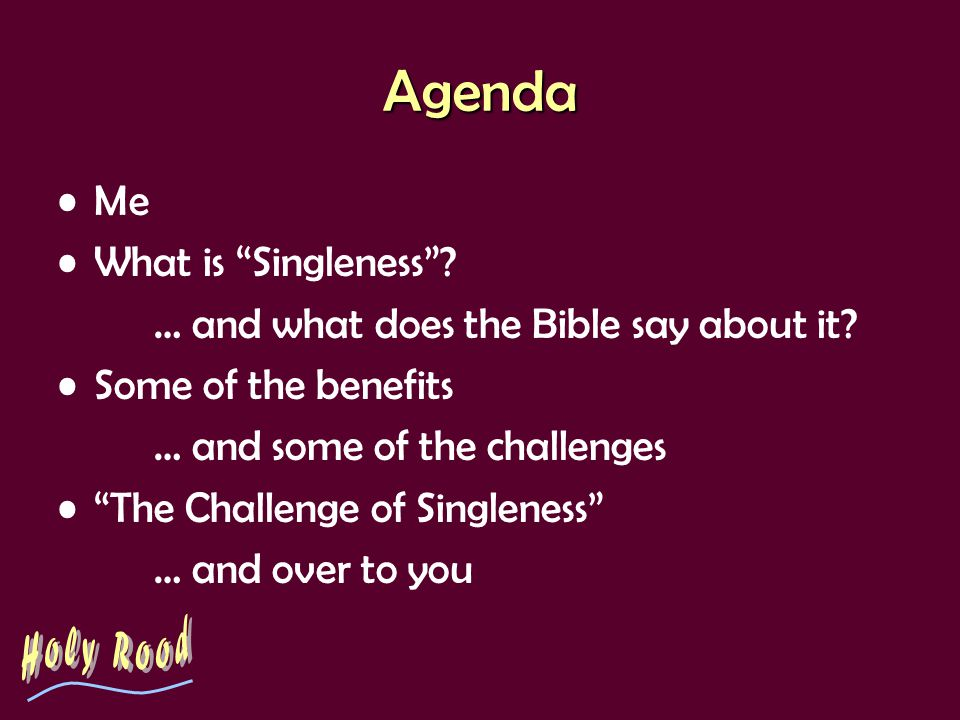 The Challenge of Singleness The World says: –The chief end of life is sexual fulfilment Does the church say: –The chief end of life is marriage.
