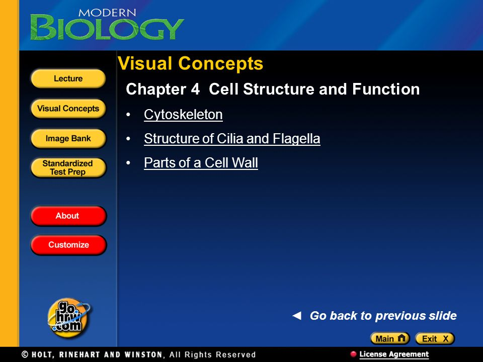Visual Concepts Chapter 4 Cell Structure and Function Cytoskeleton Structure of Cilia and Flagella Parts of a Cell Wall Go back to previous slide