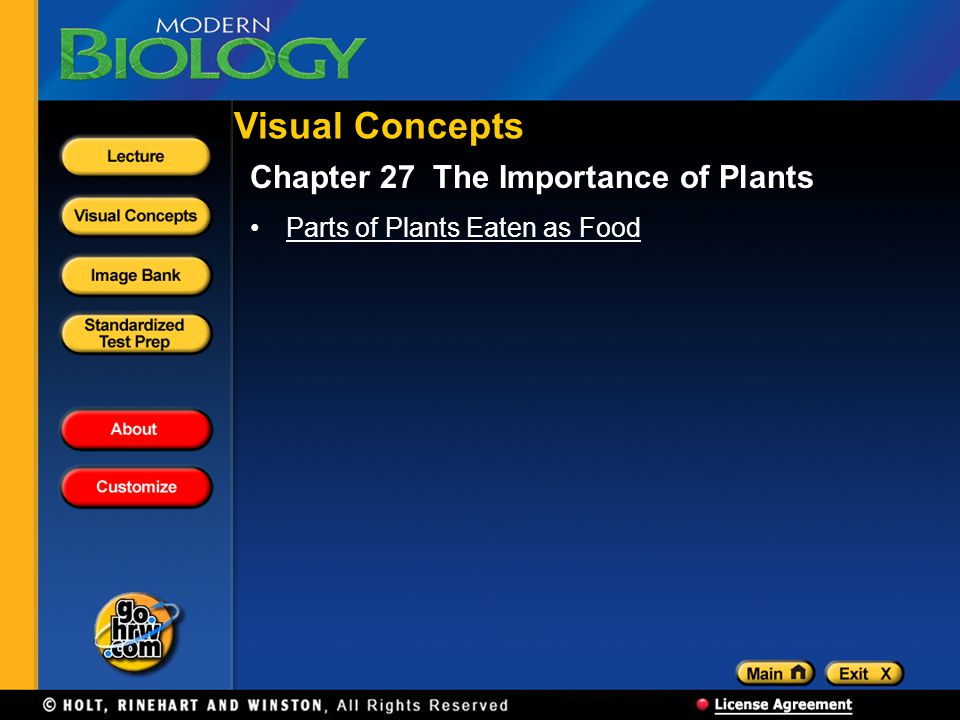 Visual Concepts Chapter 27 The Importance of Plants Parts of Plants Eaten as Food