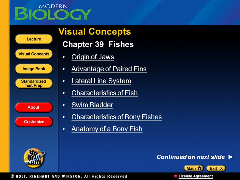 Chapter 39 Fishes Origin of Jaws Advantage of Paired Fins Lateral Line System Characteristics of Fish Swim Bladder Characteristics of Bony Fishes Anatomy of a Bony Fish Visual Concepts Continued on next slide