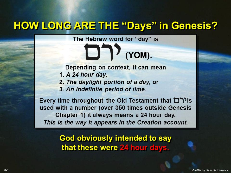 The Hebrew word for day is (YOM). Depending on context, it can mean 1.