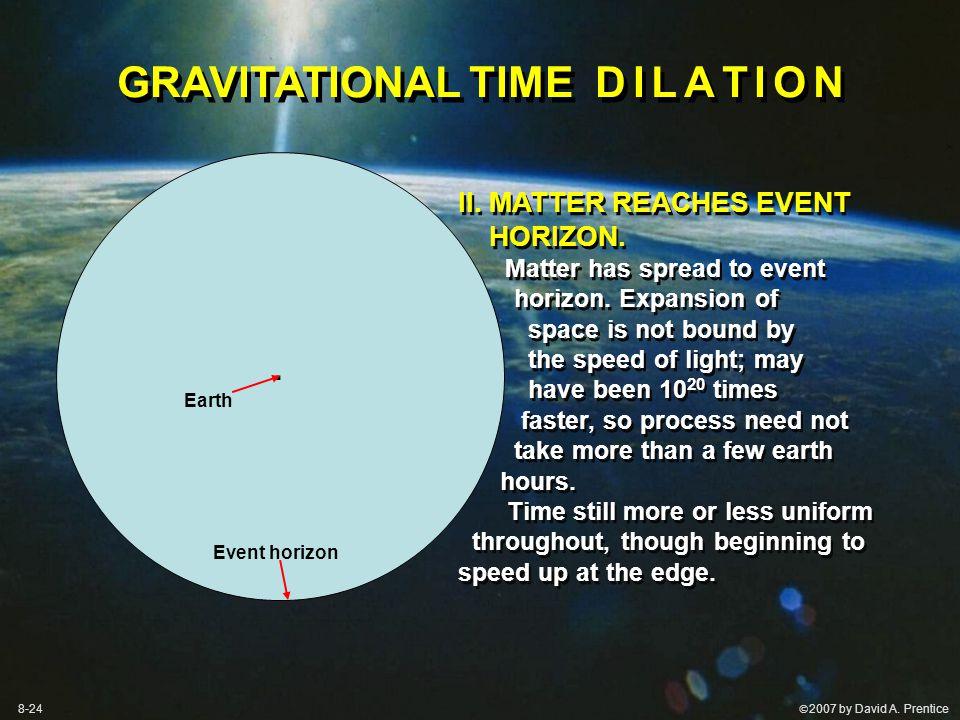 2007 by David A. Prentice II. MATTER REACHES EVENT HORIZON.