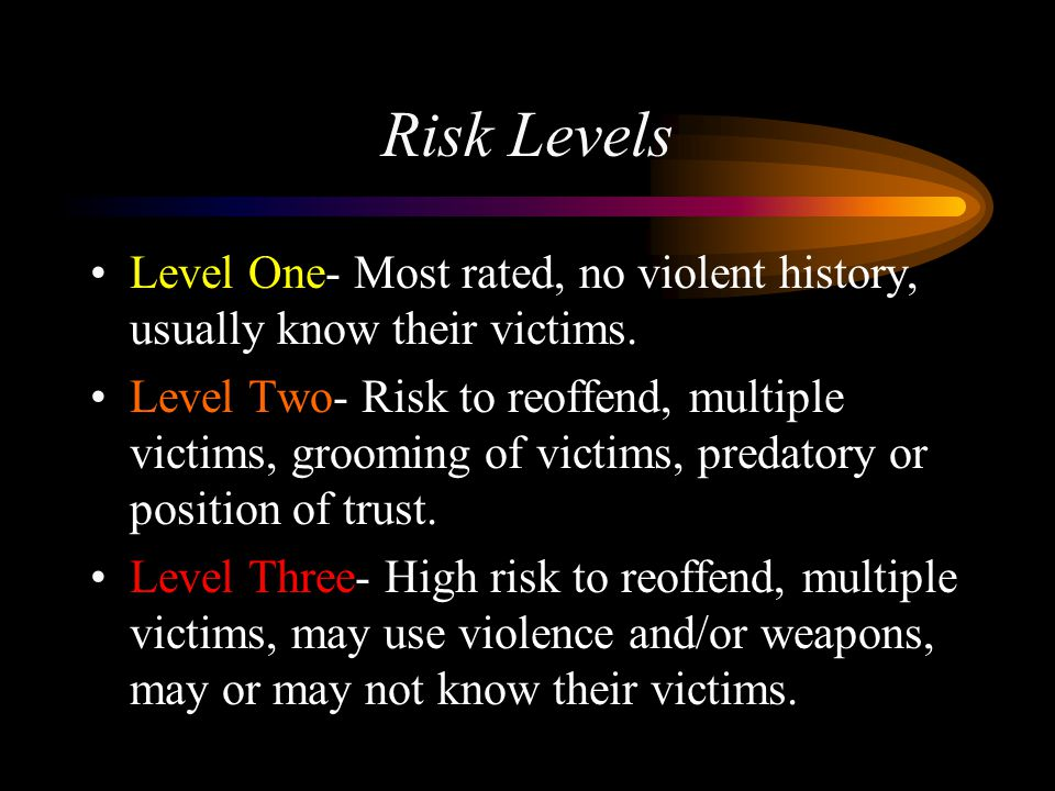 Risk Levels Level One- Most rated, no violent history, usually know their victims. Level Two- Risk to reoffend, multiple victims, grooming of victims,