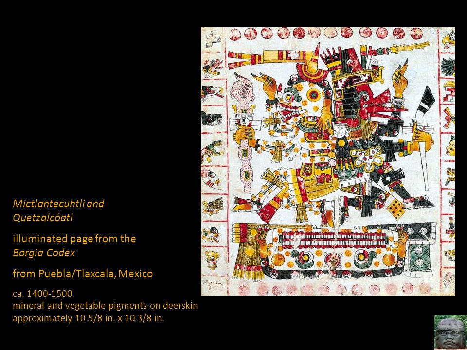 Mictlantecuhtli and Quetzalcóatl illuminated page from the Borgia Codex from Puebla/Tlaxcala, Mexico ca. 1400-1500 mineral and vegetable pigments on d