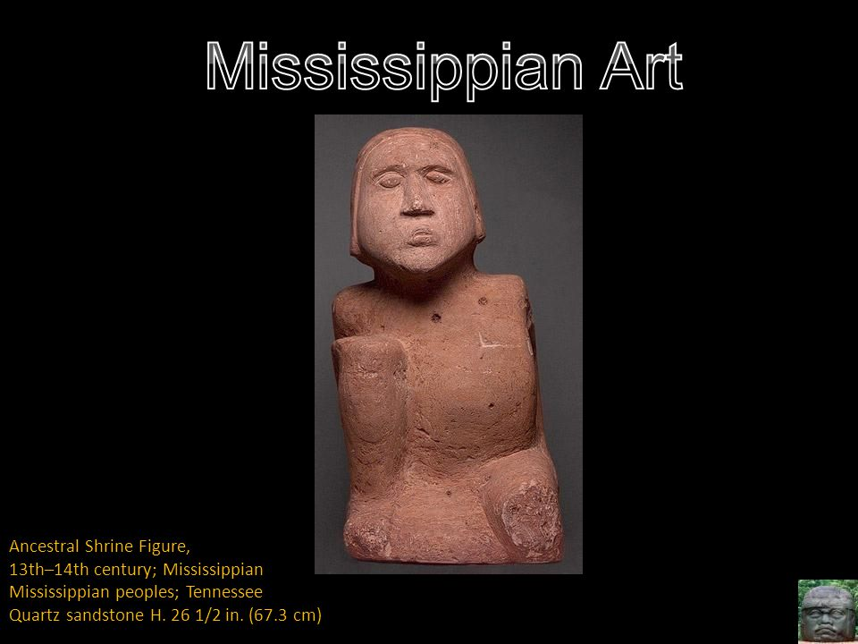 Ancestral Shrine Figure, 13th–14th century; Mississippian Mississippian peoples; Tennessee Quartz sandstone H. 26 1/2 in. (67.3 cm)