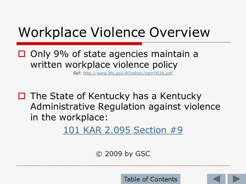 Preventing Violence in the Workplace The most violent element in society is: IGNORANCE (Keys) to preventing violence in the workplace: Listen – Many times, the employees, will give warning signs Recognize – Angry and aggressive behavior Maintain – Respectful working environment Document – All incidents of out of the ordinary behavior.