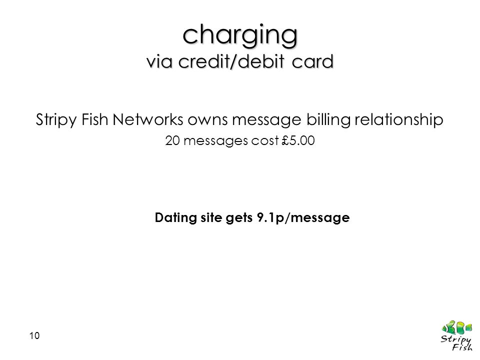 10 charging via credit/debit card Stripy Fish Networks owns message billing relationship 20 messages cost £5.00 Dating site gets 9.1p/message