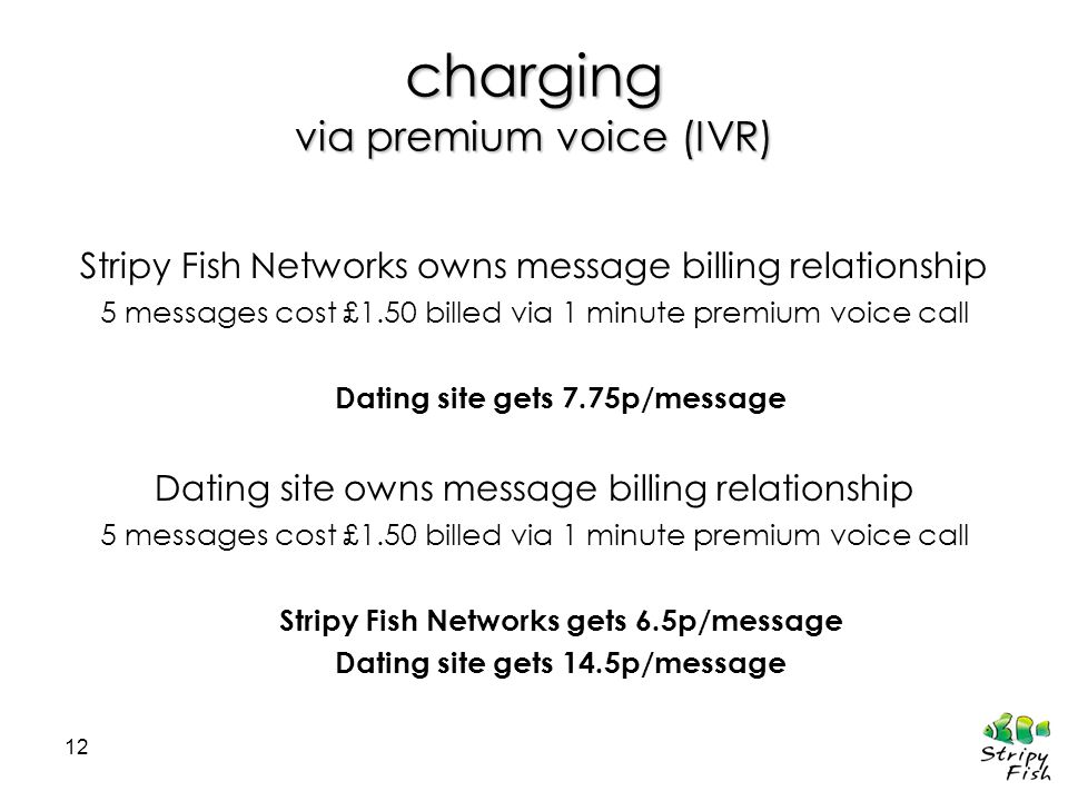 12 charging via premium voice (IVR) Stripy Fish Networks owns message billing relationship 5 messages cost £1.50 billed via 1 minute premium voice cal