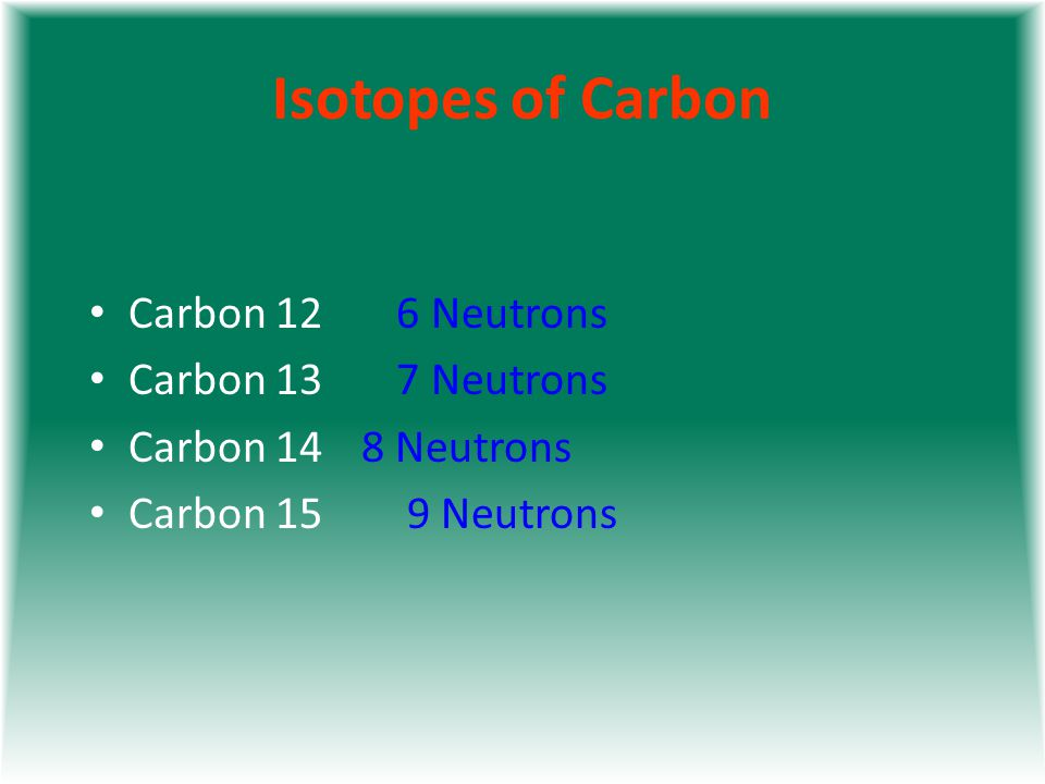 Isotopes of Carbon Carbon 12 6 Neutrons Carbon 13 7 Neutrons Carbon 14 8 Neutrons Carbon 15 9 Neutrons Each Carbon has 6 protons