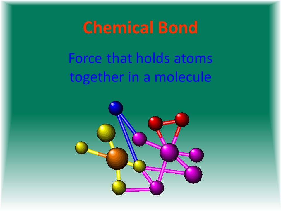 Chemical Bond Force that holds atoms together in a molecule