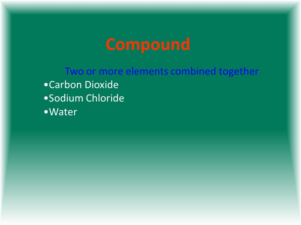 Compound Two or more elements combined together Carbon Dioxide Sodium Chloride Water