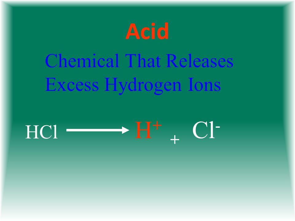 Acid Chemical That Releases Excess Hydrogen Ions HCl Cl - + H+H+