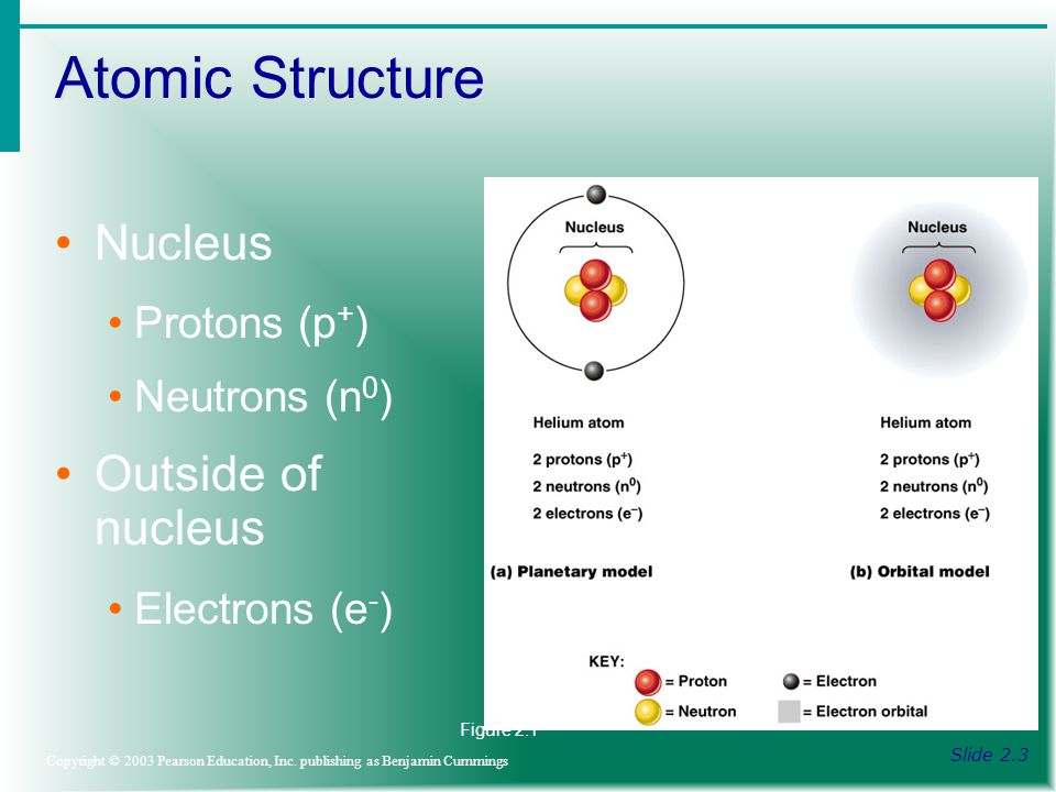 Atomic Structure Slide 2.3 Copyright © 2003 Pearson Education, Inc.