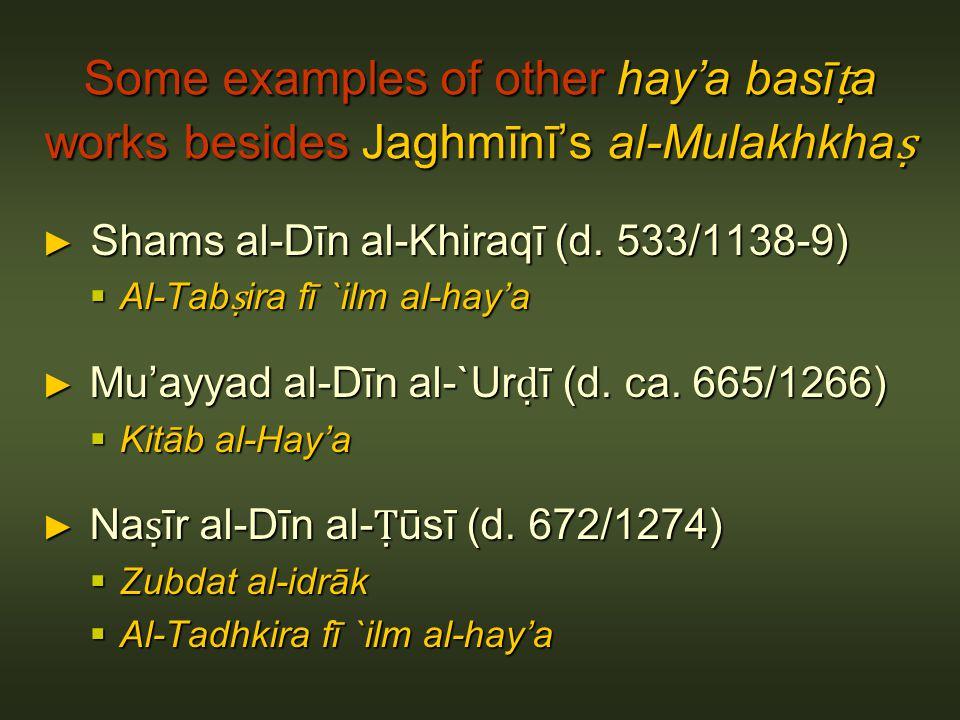 Some examples of other haya basī a works besides Jaghmīnīs al-Mulakhkha Some examples of other haya basī a works besides Jaghmīnīs al-Mulakhkha Shams al-Dīn al-Khiraqī (d.