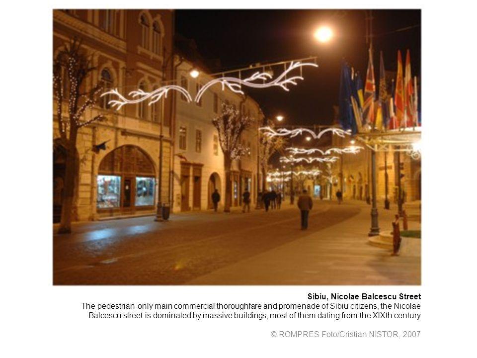 Sibiu, Nicolae Balcescu Street The pedestrian-only main commercial thoroughfare and promenade of Sibiu citizens, the Nicolae Balcescu street is domina