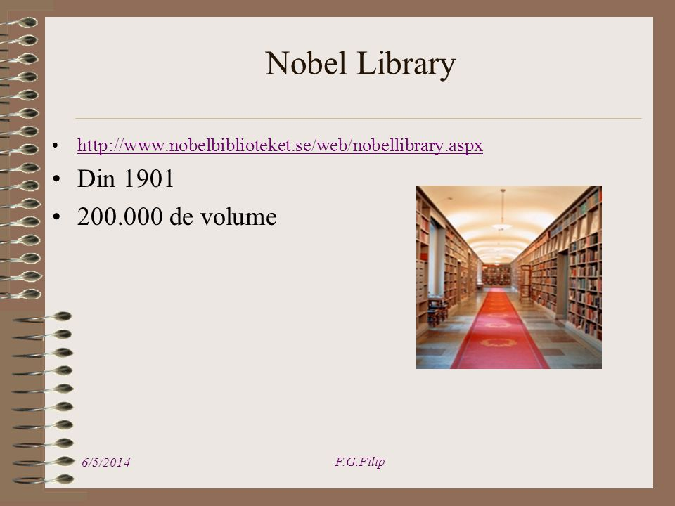 Nobel Library 6/5/2014 F.G.Filip   Din de volume