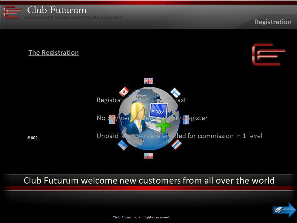 The Registration Registration Club Futurum welcome new customers from all over the world # 002 Registration is simple and fast No payment is needed when register Unpaid Members are entitled for commission in 1 level