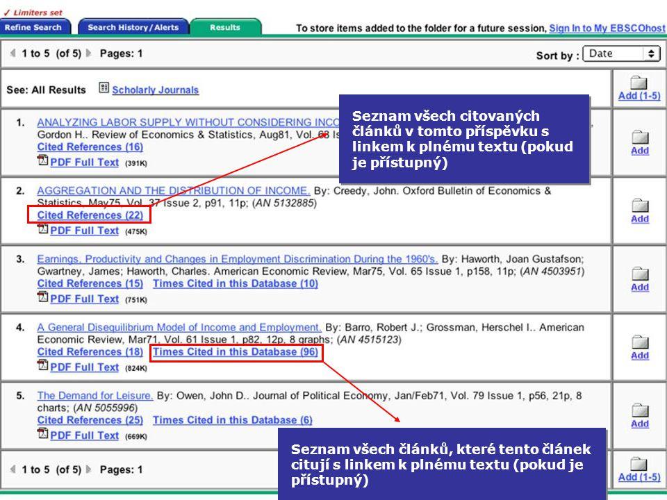 Seznam všech citovaných článků v tomto příspěvku s linkem k plnému textu (pokud je přístupný) Seznam všech článků, které tento článek citují s linkem