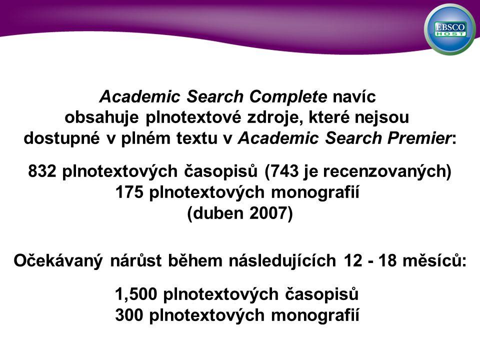 Academic Search Complete navíc obsahuje plnotextové zdroje, které nejsou dostupné v plném textu v Academic Search Premier: 832 plnotextových časopisů