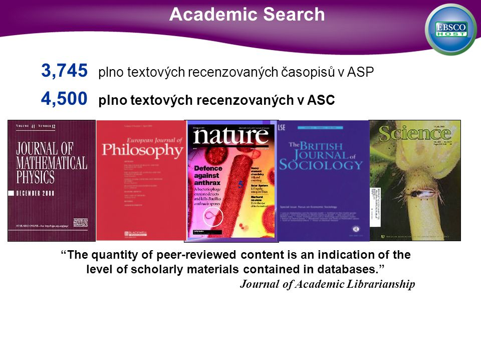 The quantity of peer-reviewed content is an indication of the level of scholarly materials contained in databases.