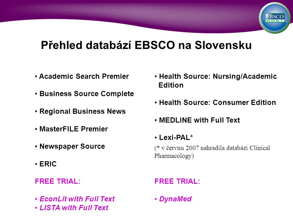 Academic Search Premier Business Source Complete Regional Business News MasterFILE Premier Newspaper Source ERIC FREE TRIAL: EconLit with Full Text LISTA with Full Text Health Source: Nursing/Academic Edition Health Source: Consumer Edition MEDLINE with Full Text Lexi-PAL* (* v červnu 2007 nahradila databázi Clinical Pharmacology) FREE TRIAL: DynaMed Přehled databází EBSCO na Slovensku