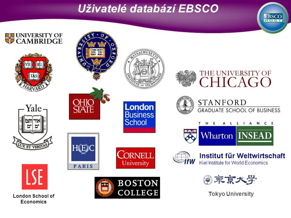 Tokyo University London School of Economics Uživatelé databází EBSCO