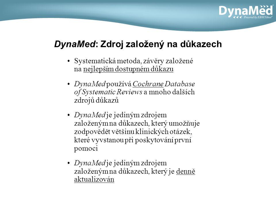 DynaMed: Zdroj založený na důkazech Systematická metoda, závěry založené na nejlepším dostupném důkazu DynaMed používá Cochrane Database of Systematic
