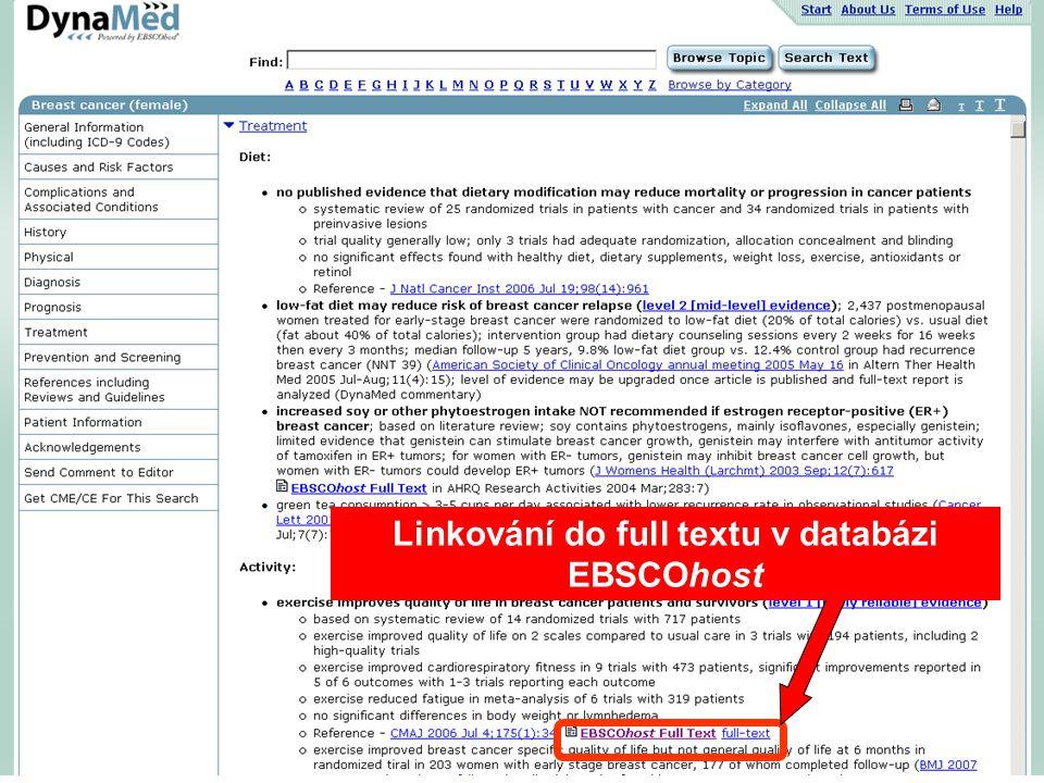 Linkování do full textu v databázi EBSCOhost