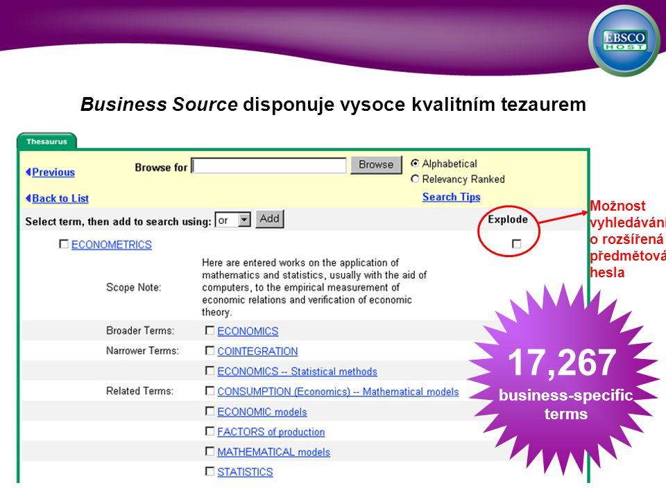 Business Source disponuje vysoce kvalitním tezaurem 17,267 business-specific terms Možnost vyhledávání o rozšířená předmětová hesla