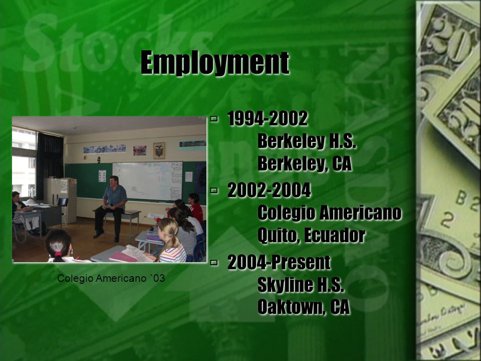 Employment 1994-2002 Berkeley H.S.